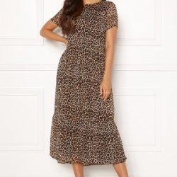 Pieces Casandra SS Midi Dress Peyote/Leo Print S