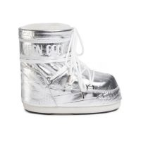 Silver leather snow boots