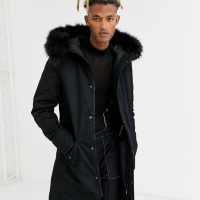 Sixth June fishtail parka coat in black with faux fur hood