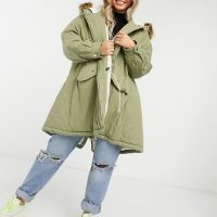 Sixth June oversized parka coat with faux fur hood-Green