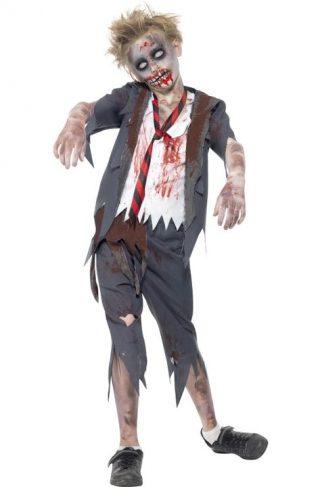 Zombie Skolegutt Kostyme Barn Large