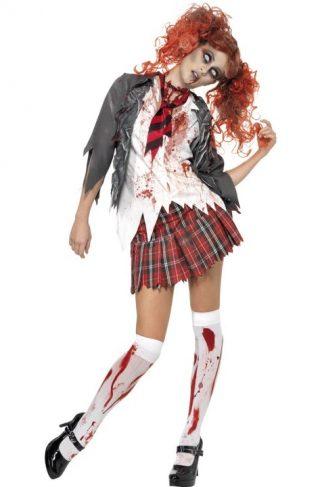 Zombie Skolepike Karnevalsdrakt Small
