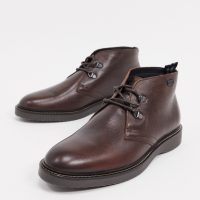 Barbour International Piston leather boots in dark brown