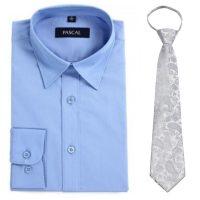 Blå Pascal skjorte med sølv brokadeslips