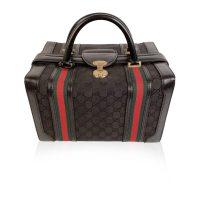 Black Monogram Canvas Train Case Beauty Bag