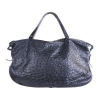 Black Ostrich and Crocodile Leather Shoulder Bag