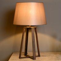 Bordlampe Coffee med brun tekstilskjerm