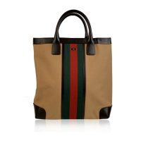 Canvas Shopping Bag Shopper Tote with Stripes