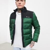 Champion high neck padded jacket in green