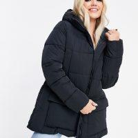 Champion longline puffer jacket with logo hood in black