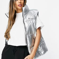 Champion padded gilet in silver