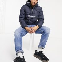 Champion padded pullover jacket in navy