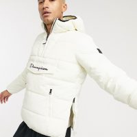 Champion padded pullover jacket in off white