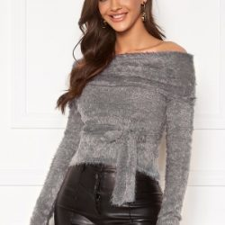 Chiara Forthi Beatricia furry offshoulder sweater Silver grey XS
