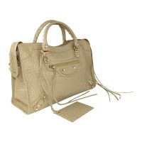 Crocodile Embossed Calfskin Classic City in Beige Latte
