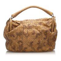 Embroidered Intrecciato Leather Handbag