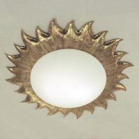 Gullfarget pendellampe SONNE m. matt opalglass