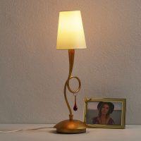 Gyllen bordlampe Paola med stoffskjerm