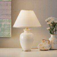Hvit GIARDINO CRACLEE bordlampe på 30 cm