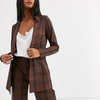 Ichi check longline suit blazer-Multi