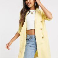 Ichi double breasted longline blazer-Yellow