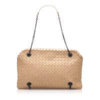 Intrecciato Chain Leather Shoulder Bag