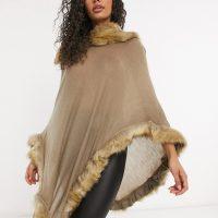 Jayley faux fur trim poncho in tan-Brown