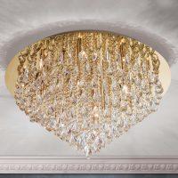 Kystalltaklampe Helene i gull, 75 cm