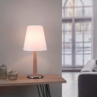 Lucande Elif bordlampe hvit, konisk natureik