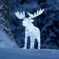 Lysende akryl-julenisse m. LED