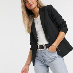 Mango button front blazer in black