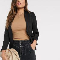Mango collarless blazer in black