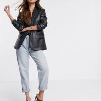 Mango faux leather blazer in black
