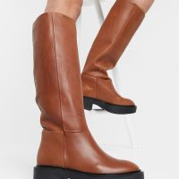 Mango leather calf length boots in tan