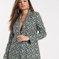 Mango longline blazer in floral print-Multi