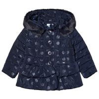 Mayoral Dots Peplum Puffer Jacket Navy 2 years