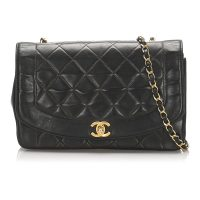 Medium Diana Lambskin Leather Flap Bag