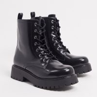 Monki Leandra faux leather chunky lace up boots in black