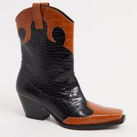 Monki Nettan faux leather croc print boots in black