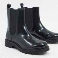 Monki Nori faux leather chelsea boots in black