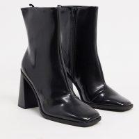 Monki Robbie vegan leather heeled boot in black