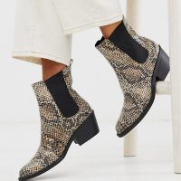 Monki faux leather heeled boots with pointed toe in snake print-Multi