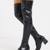 Monki over the knee boots in black