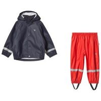 Muddy Puddles Navy Rain Jacket & Red Rain Pants Set 3-4 years