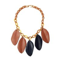 Necklace with leather elements