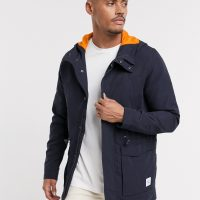 Only & Sons light weight hooded parka in navy