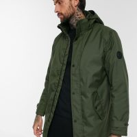 Only & Sons padded parka with removable hood in green