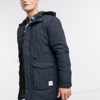 Only & Sons parka with hood in navy