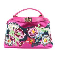 Peekaboo Iconic Mini Beaded Floral Tote Bag