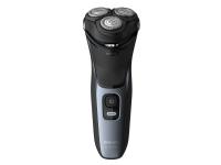 Philips Norelco Shaver 3100 Våt eller tørr elektrisk barbermaskin, Series 3000, Roterende hode, Svart, Blå, Lade, Kraft indikator, Batteri, Lithium-Ion (Li-Ion), Innebygd batteri